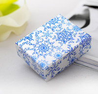 【シンプルセブン】中華風ブルーパターンリングギフトボックス、ファッションフェスティバルイヤリングパッケージ、小売ネックレス紙包装(中)