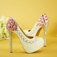 Fashion White Pearl Wedding Shoes Luxury Pink Crystal Bridal...