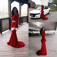 Wspaniały 2019 błyszczący czerwony pełna koronka dwa kawałki suknie wieczorowe Sheer długie rękawy Mermaid bal sukienki niestandardowe wykonane formalne suknie party