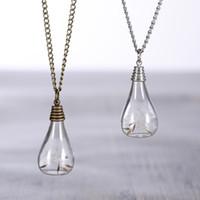 خمر ضوء لمبة شكل الفضة مطلي بذور الهندباء الحقيقي قلادة القلائد الرغبات زجاجة قلادة للنساء