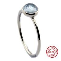 2016 Marzo Gocciolina, Aqua Blue Crystal 100% 925 Sterling Silver Bead Fit Pandora Anello Moda gioielli fai da te fascino Marca