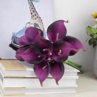 Flores artificiales de la vendimia Mini púrpura en los ramos de lirio de la cala blanca para la decoración de ramo de boda nupcial flor falsa