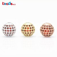 Beadsnice Micro Pave Cz Perles En Argent Sterling 925 Perles Rondes Bijoux Entretoise Perles pour Bracelet Making ID 25038