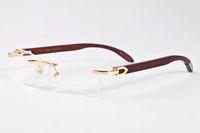 2020 nova moda esportiva óculos de sol chifre de búfalo de madeira óculos sem aro de armação de metal clara lente de óculos polarizados populares para unisex