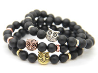 2016 Nouveau Design Hommes Bracelets Perlés En Gros 8mm Naturel Mat agate Alliage Hibou Pendentif Bracelet BaBeads Hibou Eagle Bracelets Cadeaux De Fête