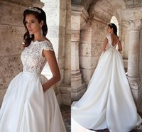 Milla Nova 2018 A Line Wedding Dresses Bateau Neck Short Sle...