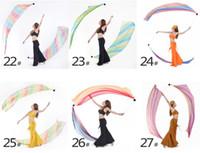 Belly Dance Veil Poi 1 SET = 1Veils + 1Poi Chaînes Multicolore 31 couleurs Accessoires de danse du ventre danse du ventre Handball tissu chaud