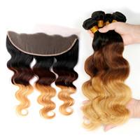 Ohr zu Ohrspitze Frontalverschluss mit 3 Bündeln Ombre Blonde Malaysische Jungfrau Body Wave 1b / 4/2 27 Farbige menschliche Haare Gewebe und Frontals 13x4