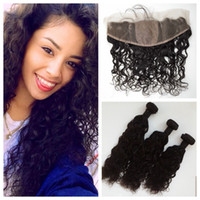 Wet And Wavy Silk Lace Frontal Closure With Bundles 3pcs Per...