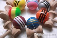 Colores multicolores 18.5 cm * 6 cm Gran bola de Kendama Juguetes de madera tradicionales japoneses Regalos educativos Novedad Juguetes Fedex gratis