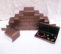 Treachi Directselling 48 unids Brazalete de Color Marrón Pulsera Caja de Embalaje de Joyas de Plástico Caja de Caja de Joyería de Calidad Paquete de Almacenamiento de Caja de Regalo