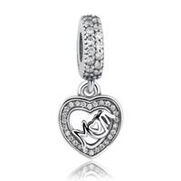 925 Sterling Silber MUM baumeln Charms mit Zirkonia Liebe Herz Anhänger Charms für DIY Perlen Charm Armbänder Mutter Geschenk S325