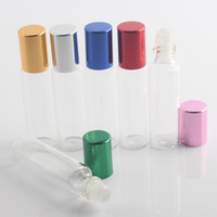 10ml / 10Gram Glass Roll-on Bottle Tope With Aluminum Cap 10CC Glass Roller Ball Sample Clear Bottle Fragrance Perfum 6 Colors