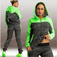 Autumn Winter Tracksuit Women ladies Zip- up Collision Color ...