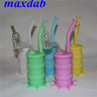 Silikon-Mini-Bong-Wasser-Rohr bunte feste leuchtende Glühenfarbe Siliciumbongs-Rohre mit 14mm männlichen Gelenk-Doppelrohrquarz-Banger-Nagel