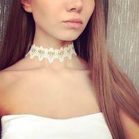 Çift aşıkların N106 için Toptan-Yeni moda takı aksesuarları beyaz Dantel Dövme gerdanlık kolye