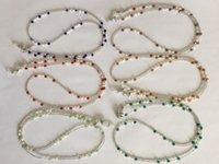 6 peças / lote sortido colorido água fresca de água fresca e vidro frisado óculos colar cadeia retentor