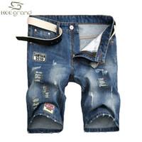 Wholesale-Jean Shorts Men Fashion Loch Jeans europäischen Street Style Applikationen Design Plus Größe 28-38 MKN611