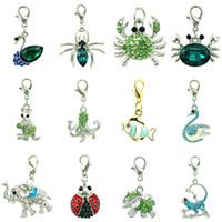DIY Mix продажа новая мода зеленый кристалл мотаться плавающей животных кулон Омар Застежка подвески для ювелирных изделий аксессуары