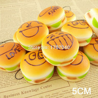 Wholesale- 30PCS Mini 5CM Expression Squishy Hamburger Key Ch...