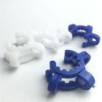 Keck plastique pince 14mm 18mm bleu clips Keck joint blanc pour verre sur l'adaptateur en verre plastique Keck clips de serrage