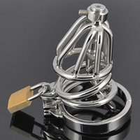 Stainless Steel Chastity Cage with Hollow Removable Urethral Insert Tube Barbed Anti-off Ring Master Bondage Gear SM Bondage Hood Device
