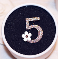 Korean Brand Crystal Number 5 Brooch Pins for Women Enamel C...