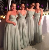 2015 Vestidos de dama de honor de 2015 Piso de gasa ruchada Longitud de la menta Long Mint Vestido Dama de vestidos de honor