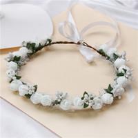 Rose Kranz Bohemia handgemachte Blume Krone Hochzeit Kranz Braut Kopfschmuck Stirnband Haarband Haarband Zubehör für Frauen Dame