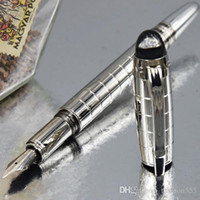 الفضة الفاخرة الشيكات ميغابايت-SW ألمانيا ماركة القلم 4810 14K بنك الاستثمار القومي قلم حبر مع عدد سلسلة الكريستال أعلى