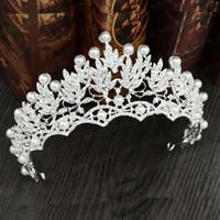 Romantico cristallo d argento perlato da sposa diadema di promenade del  partito della signora accessori 443964fafded