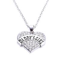 ベストプライス高品質ロジウムメッキ亜鉛スパークリングクリスタルDaddy's Girl Heartペンダント小麦リンクチェーンネックレス