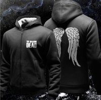 The Walking Dead Felpa con cappuccio Zombie Daryl Dixon Wings Fleece Cotton Uomo Felpe con cappuccio Zipper Jacket Felpe da uomo Sportswear
