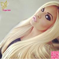 7A Lumière Blonde Avant de Lacet Perruques de Cheveux Humains Brésiliens Droites de Cheveux Humains Pleine Perruque de Lacet Avec Bébé Cheveux Couleur # 60