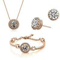 1 pcs Drop Ship 18k banhado a ouro colar de cristal austríaca bracelete brincos de jóias conjunto para mulheres senhoras femininas casamento jóias 3 pcs / set