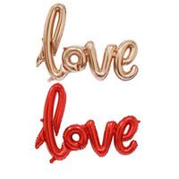 Ligatures LOVE Letter Palloncino Foil Anniversary Wedding San Valentino Decorazione Palloncino rosso Champagne Spedizione gratuita WA1271
