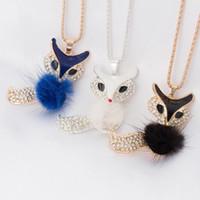 Collar de diamantes de imitación Accesorios colgantes Color de caramelo Piel Fox Collar largo Collar de suéter Collar de cadena