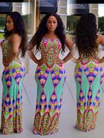 Nuevo patrón europeo en vacaciones Wind Wrap Chest Printing Geometry Split Joint Hit Color Full Dress Vestidos para mujer Ropa Damas