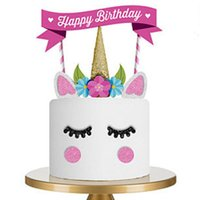Unicorn Happy Birthday Cake flag Birthday Decoration Stand F...