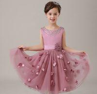 Boog meisje jurken 2015 schattige baljurk mouwloze zomer bloem meisje jurken voor bruiloften feestjurken gratis verzending