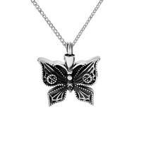 Joyas de cremación Colgante de urna de mariposa negra Cenizas Recuerdo conmemorativo Collares de medallón de acero inoxidable con bolsa de regalo y embudo