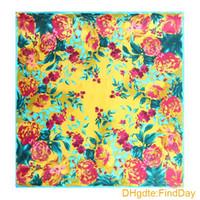 [LESIDA] 90 Quadrat Satin Frauen Schals, reiner Seidenschal Für Frauen Mit Blumendruck, Frühling Und Herbst Damen Bandana, Cape 9005