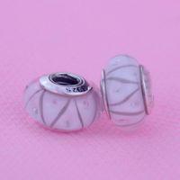 Filo bianco Murano Perle di vetro idonei al Pandora bracciali reale originale Argento 925 perline fai da te sciolti fascini branelli di modo 1pc / lot