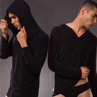 Frete Grátis N2N Yoga Wear Mens Sexy Pijamas Pijamas Robe Masculino Masculino Camisa Yoga Desgaste Ocasional Com Capuz De Seda Poliéster