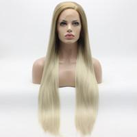 Iwona волосы прямые удивительные длинные медовые блондинка корневой свет блондинки Оммре парик 22 # 27/613 наполовину, связанные на термостойкие парики синтетические кружева
