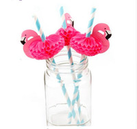 Flamingo Papier Trinkhalme Hochzeit Dekoration Baby Shower Geburtstag Feier Hawaii Karneval Party Supplies G772