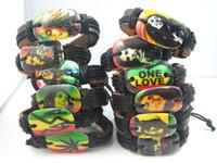 new 24pcs mixed 12 different styles Bob Marley Rasta Jamaica Reggae pu leather fashion jewelry bracelets