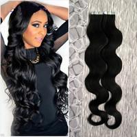 Cor # 1 jato preto corporal brasileiro cabelo cabelo humano cabelo fita extensões de cabelo 40 peças pu pele trama cabelo 100g fita extensões onduladas
