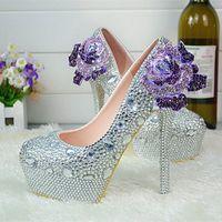 Rhinestone Crystal Wedding Shoes платформа Silver BrideMaid Shoes Plus Размер на высоком каблуке Bridal платье обувь для женщин насосы для вечеринок