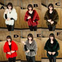 7 Cor 2019 Casaco de Inverno Casaco Nupcial Faux Fur Envoltório Quente Shawls Outerwear Preto Gary Branco Mulheres Jaqueta Prom Noite Super 155 * 44 cm